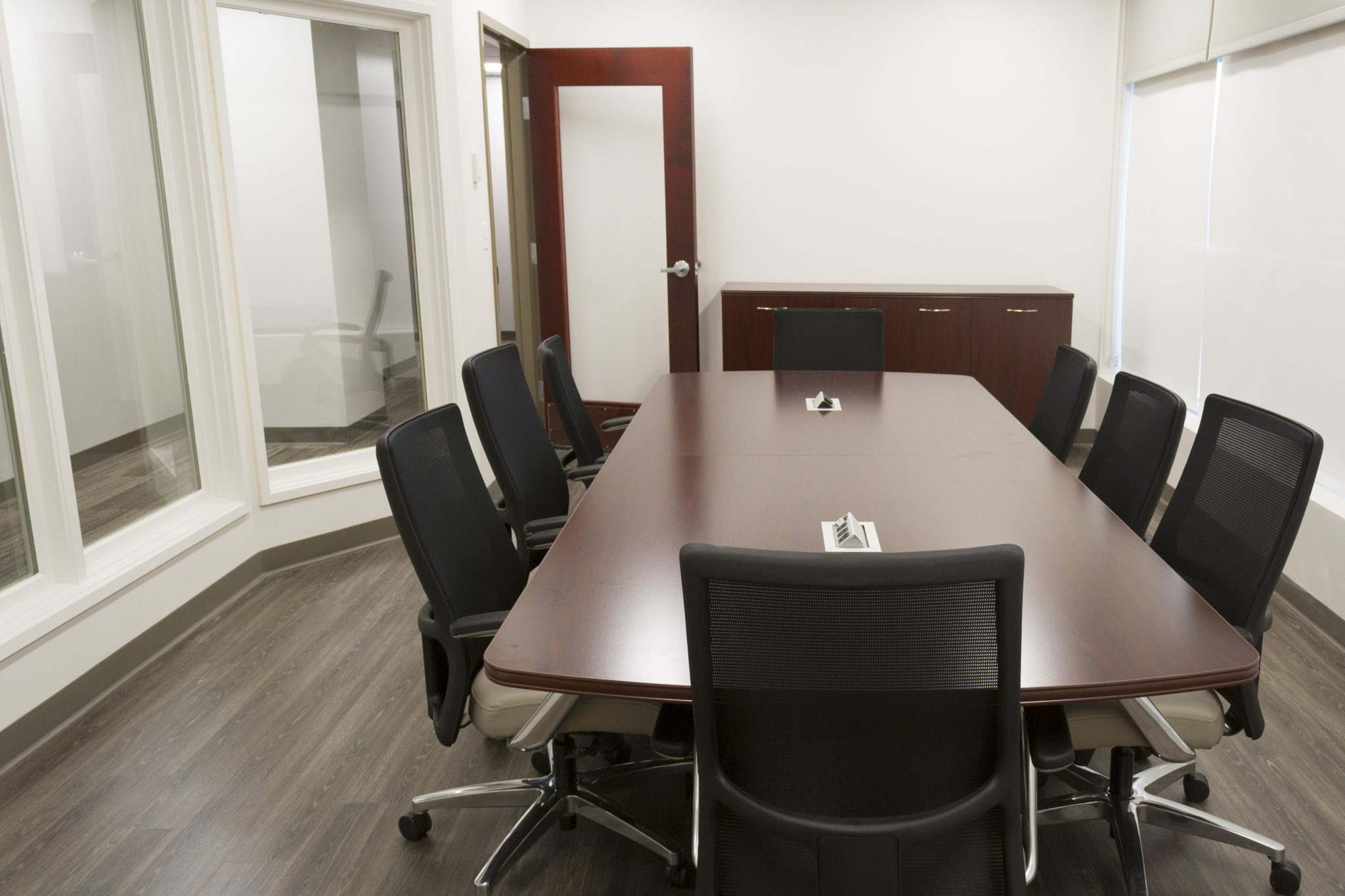 Conference table, chairs and credenza