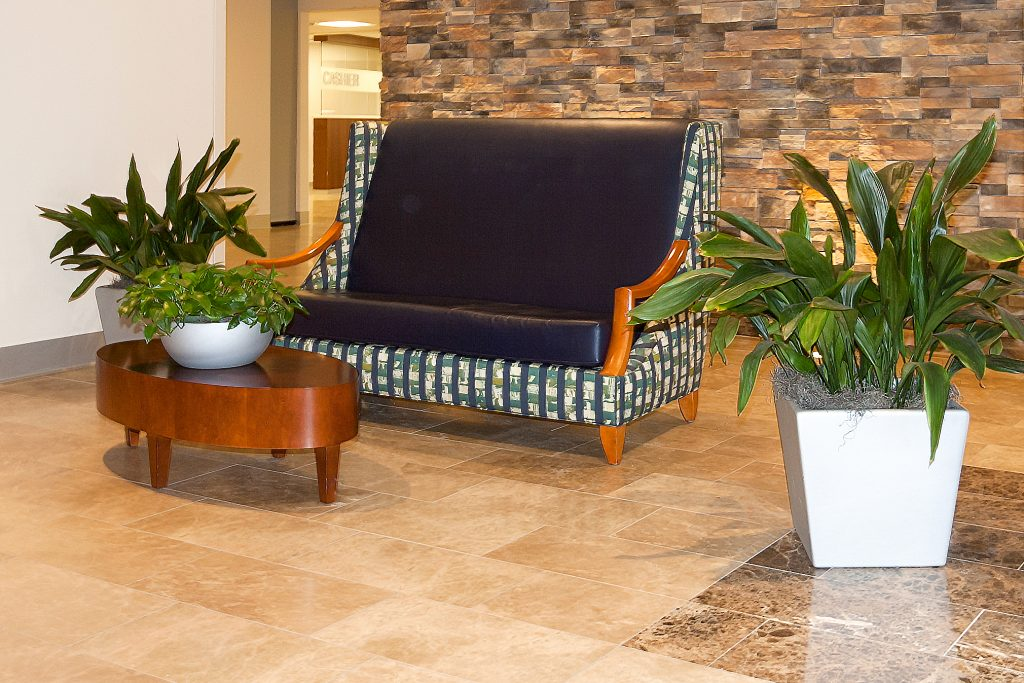 WVU Medicine- J. W. Ruby Memorial Hospital Main Lobby- designed by Omega Commercial Interiors with Kimball Furniture discussing Pattern Applications