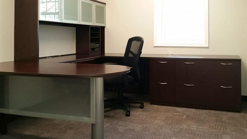 Semi-transparent Glass Desk Cabinet