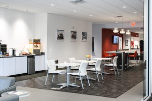 New Freedom KIA's Internet Cafe and Media Center designed by Peggy Lovio of Omega Commercial Interiors