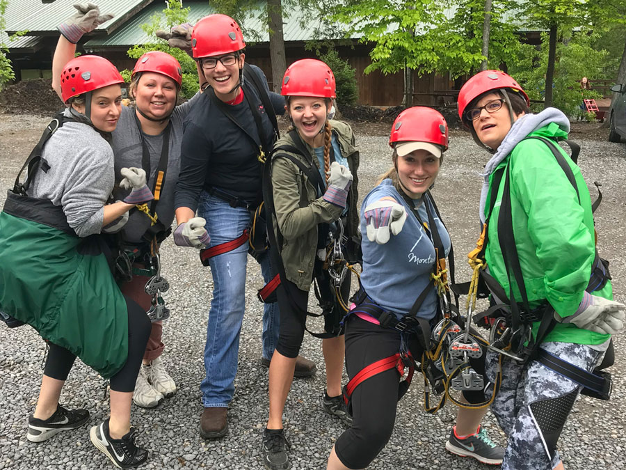 Christina, Renee, Amanda, Cassidy, Lauren and Dana of Omega Commercial Interiors ready for zip lining into the Gorge.