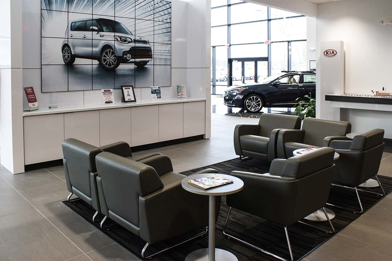 KIA dealership-lounge furniture-designed by Omega Commercial Interiors