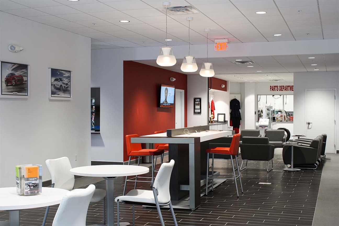 Freedom KIA Dealership- Lounge, Seating, Internet Cafe designed by Omega Commercial Interiors