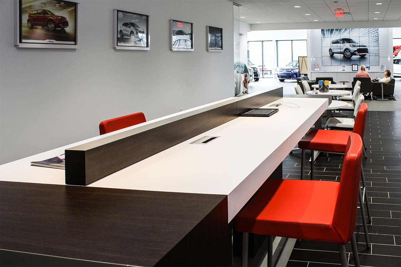 Freedom KIA Dealership- Internet Cafe designed by Omega Commercial Interiors