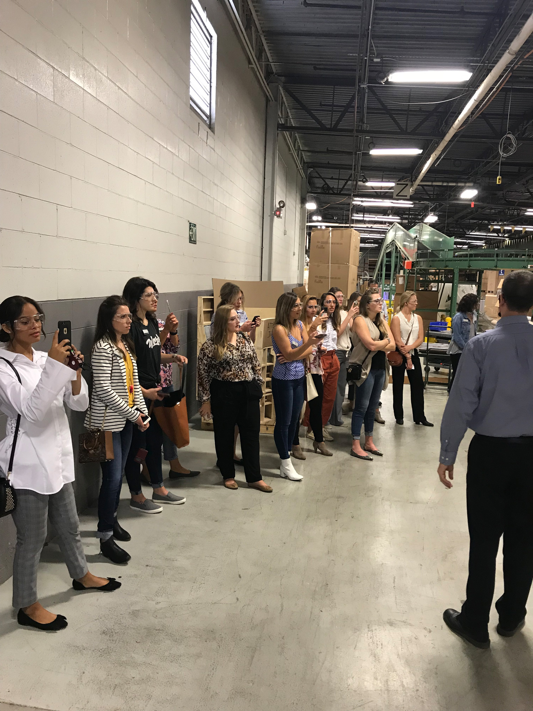 Manufacturing tour while WVU School of Interior Design Students and Omega Commercial Interiors at Kimball Office in Jasper, Indiana