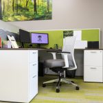 Work Station with Semi-Opaque Glass Divider