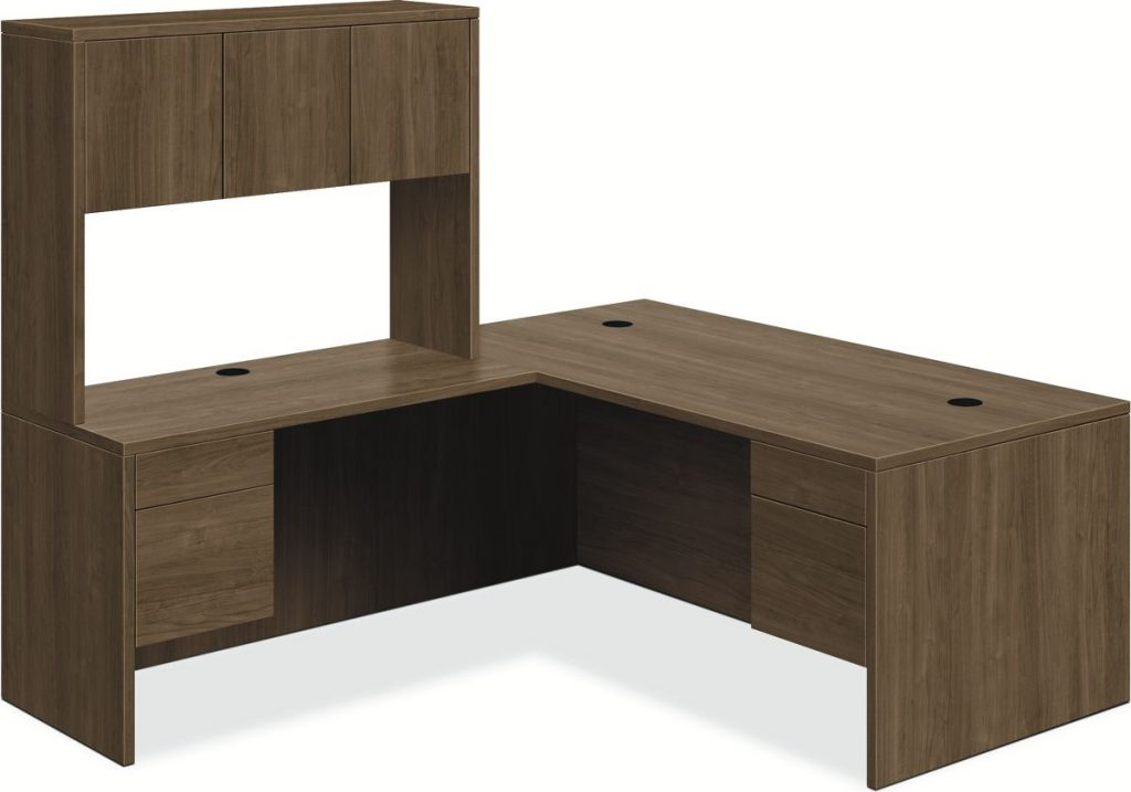Hon 10500 Series Right Pedestal Desk, left return with Stack-on Storage