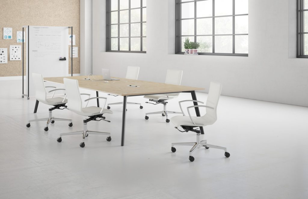 Niles™ Conference faux leather ivory conference chairs by Kimball
