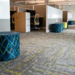 Kimball® Narrate™ Workstations, Joelle™ Ottomans, Helio™ Sit to Stand Stools and Xsede™ Sit to Stand Desks