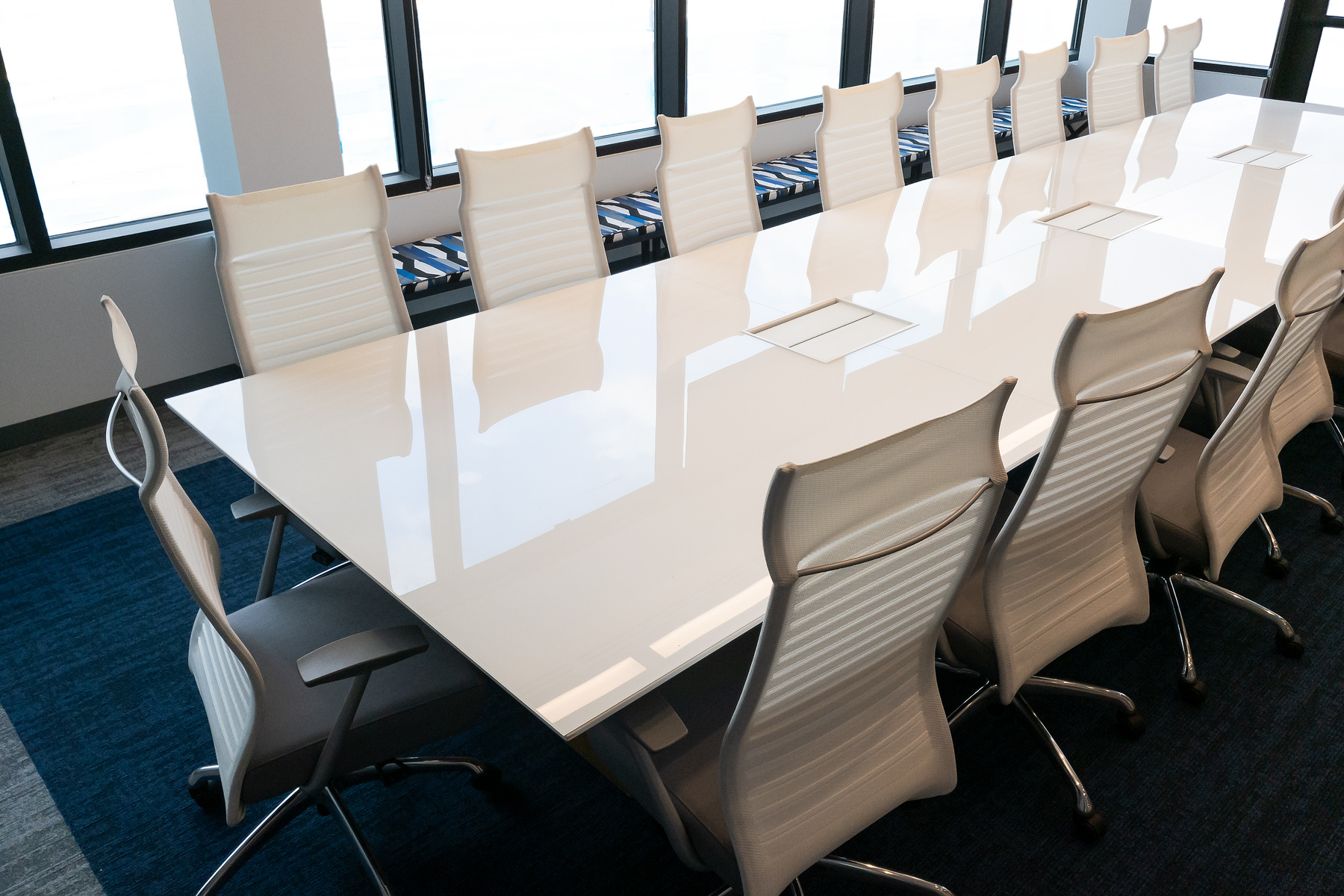 Nucraft® Myne™ Conference Table, Source International® Purl™ Chairs and Kimball® Fixit™ Benches