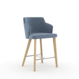 Nate & Natty™ Counter-Height Stool with Arms and Wood Legs