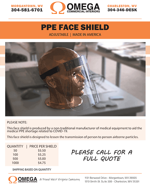 Omega Commercial Interiors - PPE Face Shield