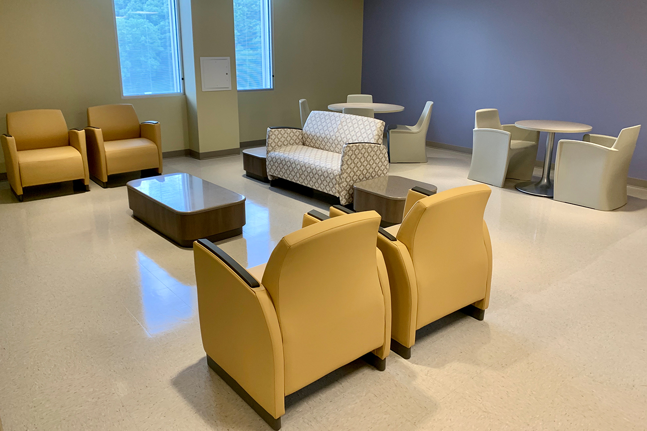 Krug Lounge Furniture and Spec Dining Room Furniture at Reynolds Memorial Hospital in the Behavioral Health Area