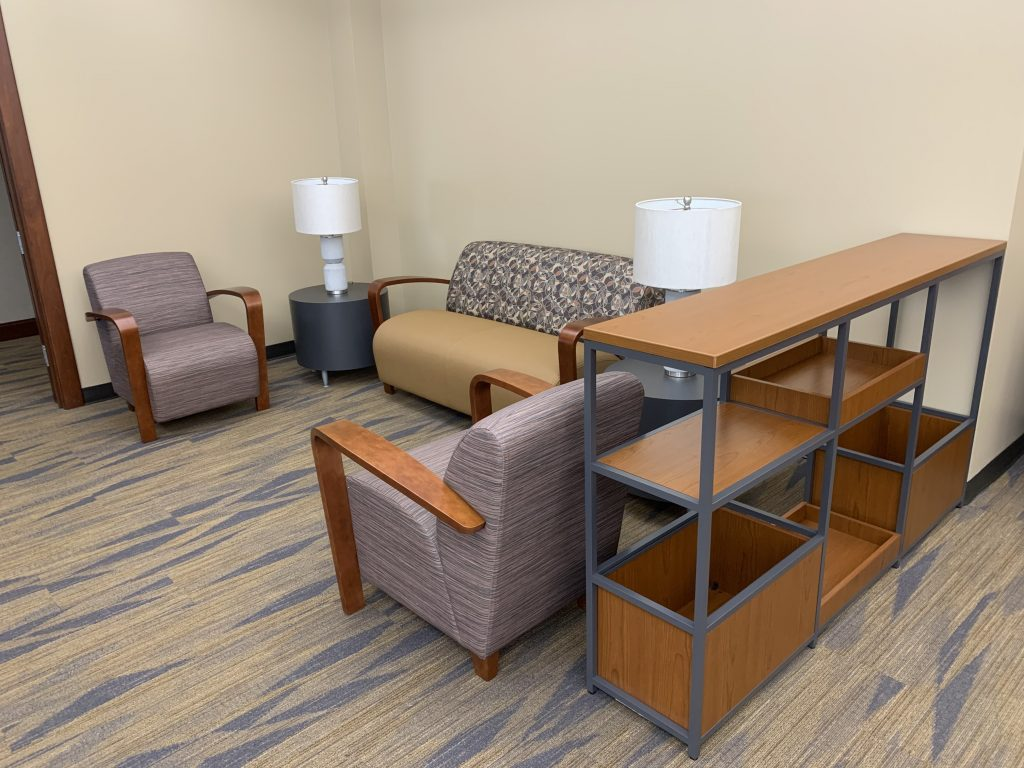 Robinson and McElwee Law Firm Waiting Area in Charleston, WV.- Lounge Chairs, Side Tables and Storage