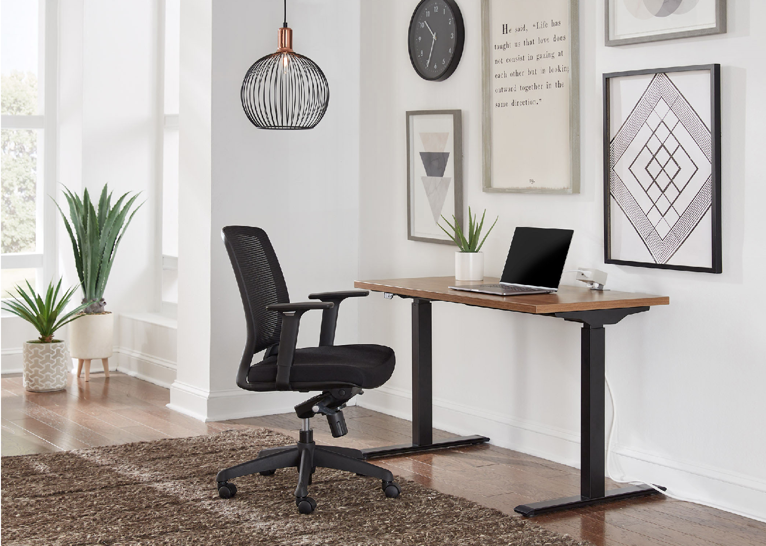 Task Chair and Height Adjustable Desk